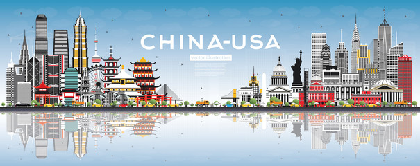 Wall Mural - China and USA Skyline with Gray Buildings, Blue Sky and Reflections.