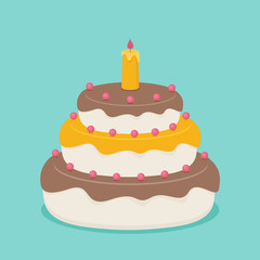 Vector picture with isometric birthday cake.