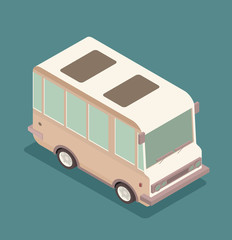 Vector illustration of a retro travel van isometric