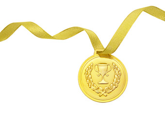 Gold medal with gold ribbon isolated on white