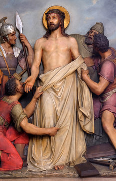 10th Stations of the Cross, Jesus is stripped of His garments, Basilica of the Sacred Heart of Jesus in Zagreb, Croatia