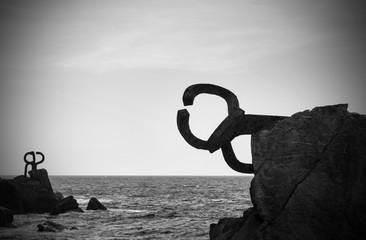 """Sculpture """"peine de los vientos"""" in San Sebastian, Spain"""