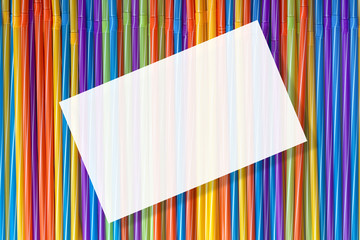 Wall Mural - background of colorful cocktail tubes, straw for drinks, mockup
