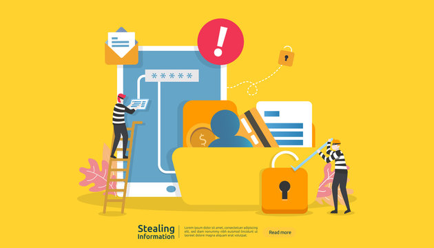 internet security concept with people character. password phishing attack. stealing personal information data web landing page, banner, presentation, social, print media template. Vector illustration