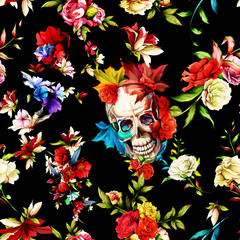 Foto auf Acrylglas Aquarell Schädel Vintage seamless background pattern. Skull with flowers, roses, rosemary and leaves on black. Abstract, hand drawn, vector - stock.