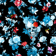 Printed roller blinds Watercolor Skull Vintage seamless background pattern. Skull with flowers, roses, peony, pomegranate and leaves on black. Hand drawn artwork. Vector - stock.