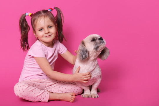 Image of sweet cute little child with two funny pony tails, being in good mood, spending free time with pet, holding it close, puppy looking aside, smelling, sitting calm. Copyspace for advertisement.