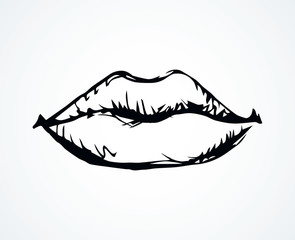 Lips. Vector drawing icon sign