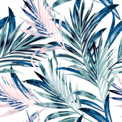 Fashion vector illustration with tropical palm leaves in pink and blue color, watercolor style