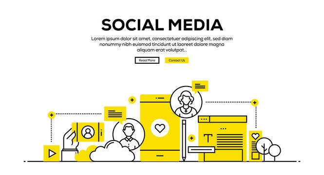 SOCIAL MEDIA FLAT LINE WEB BANNER DESIGN