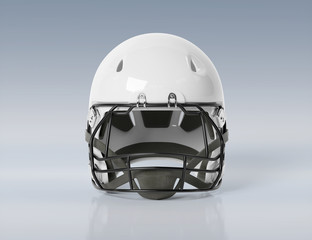 White American football helmet isolated on grey mockup 3D rendering