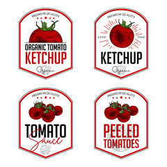 Tomato ketchup, sauce  badge label design set. Vector hand drawn illustration of tomatoes in engraving technique. Vintage shield form templates for tomato sauce packaging.