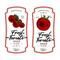 Tomato ketchup, sauce  badge label design set. Vector hand drawn illustration of tomatoes in engraving technique. Vintage templates for tomato sauce packaging.