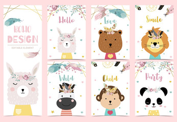 Collection of boho cards set with feather,dreamcatcher,bear,llama,panda.Vector illustration for birthday invitation,postcard and sticker.Editable element