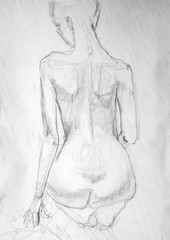 human's figure, pencil drawing illustration, sketch