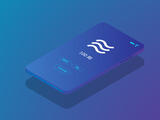 mobile smartphone with libra coin