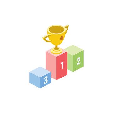 Victory cup isometric illustrate 3d vector icon. Creative design idea.