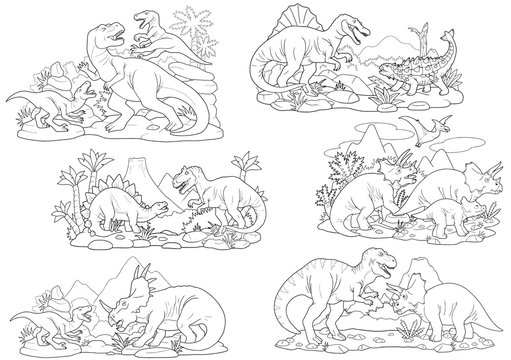 cartoon prehistoric dinosaurs, coloring book, set of images