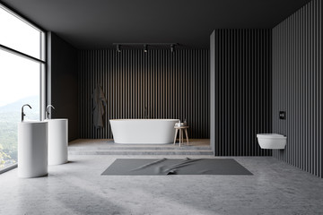 Gray wooden bathroom, sink, tub and toilet