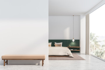 White and green bedroom with mock up wall