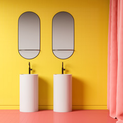 Yellow bathroom interior with double sink