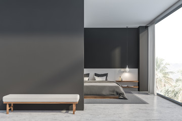 Gray and white bedroom with mock up wall