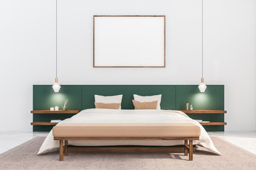 White and green bedroom with horizontal poster