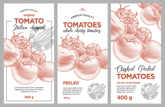 Tomato ketchup, sauce, juice badge label design set. Vector hand drawn illustration of ripe tomatoes in engraving technique. Stylish vintage templates for tomato sauce packaging.