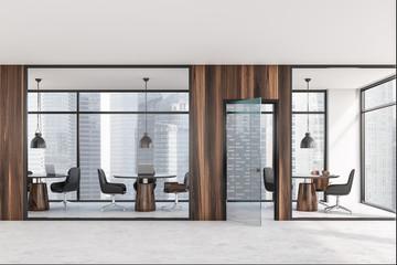 Dark wooden coworking office interior