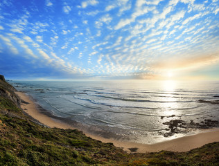Evening ocean coast (Algarve, Portugal).