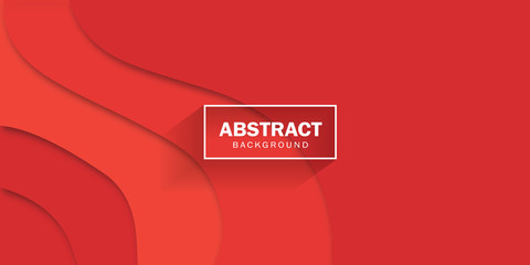 Red background. Vector concept of red paper art style, banner.
