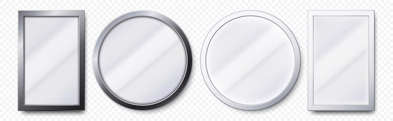 Realistic mirrors. Metal round and rectangular mirror frame, white mirrors template. Makeup or interior furniture reflecting glass surfaces 3D isolated icons vector set Fotomurales