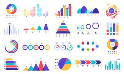 Wall Mural - Graphic charts icons. Finance statistic chart, money revenue and profit growth graph. Business presentation graphs, website finance infographic diagram charts. Flat isolated icons vector set