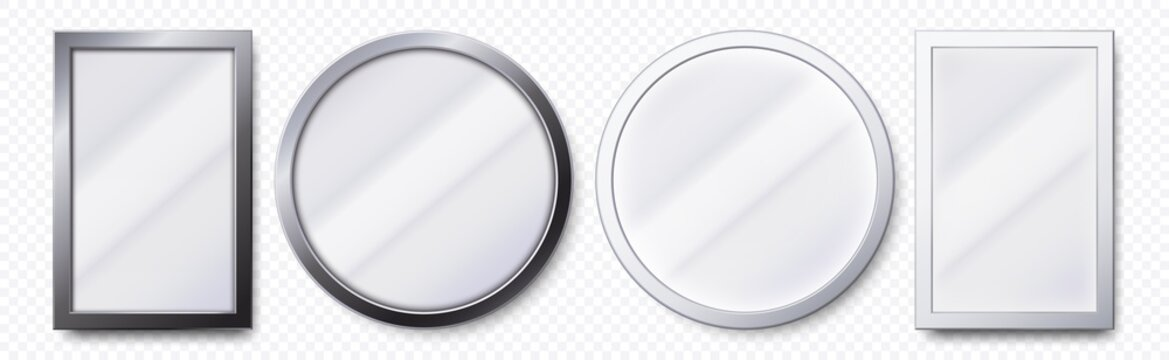 Realistic mirrors. Metal round and rectangular mirror frame, white mirrors template. Makeup or interior furniture reflecting glass surfaces 3D isolated icons vector set