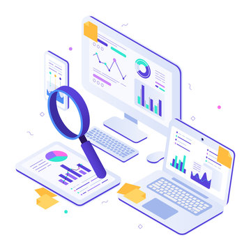 Online financial audit. Isometric website metrics, statistical graphs dashboards and web seo research. Business billing payment taxes, online accounting payments or invoice pay tax vector illustration