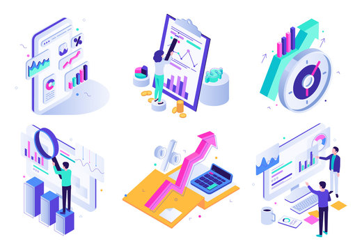 Market analytic report. Financial audit, marketing strategy review and finance business statistic. Social traffic management specialist, strategy audit isometric 3D vector icons illustration set