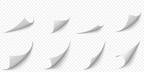 Curled paper corners. Curve page corner, pages edge curl and bent papers sheet with realistic shadow. Writing blank paper, a4 pages corners. Isolated 3d vector illustration icons set