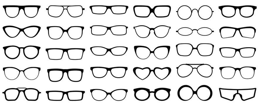 Glasses silhouette. Retro glasses, eye health eyewear and rim sunglasses silhouettes. Hipster or geek plastic eye optic lens frame accessory design. Isolated vector icons set