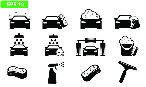 Car wash icon black vector flat design set icons washing machine