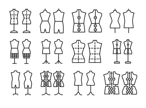 Male & female dressmaking mannequin. Signs of tailor dummy. Display bust, torso. Dress form. Line icon set. Black & white vector illustration