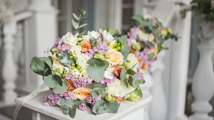 Lush bouquet of different flowers. Elegant wedding