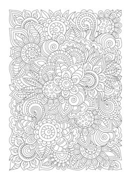 Zentangle flowers coloring page (antistress) for adults, graphic flowers and leaves, doodle patterns.
