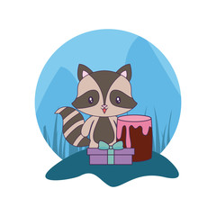 Aluminium Prints Cats cute raccoon with cake of birthday and gift box