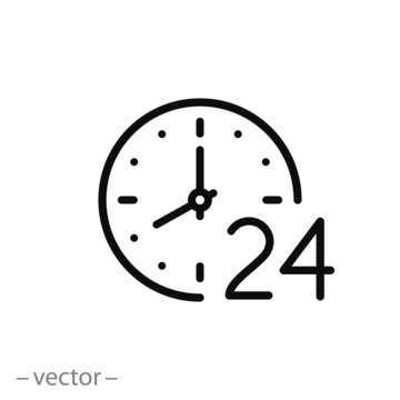 24 hr, clock icon, time linear sign isolated on white background - editable vector illustration