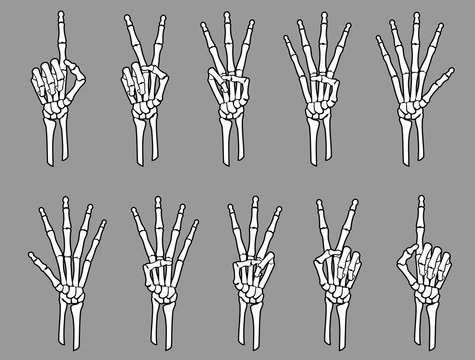 White Skeleton Number Hand Sign
