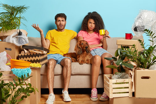 Puzzled tired couple home buyers sit at sofa, busy on moving day, have no desire to unpack belongings, Afro woman drinks tea, puzzled man raises hand and looks in displeasure, dog between them