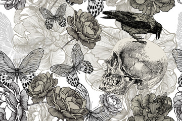 Foto op Canvas Grafische Prints Skull with a raven on a seamless, floral background. Vector illustration, hand drawing.