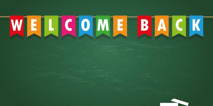 welcome back party flag banner on school black board background vector illustration EPS10