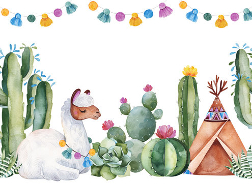 Party invitation with green watercolor cactus,succulents,flowers,garlands,teepee and cute llama.Birthday card.Perfect for your project,wedding,print,baby shower,bridal,template,invite and more.