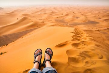Amazing view of sand dunes in the Sahara Desert. Location: Sahara Desert, Merzouga, Morocco. Artistic picture. Beauty world.